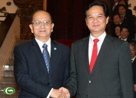 Thủ tướng Nguyễn Tấn Dũng hội kiến với Tổng thống Myanmar Thein Sein.